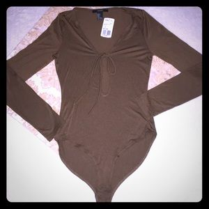 """""""Forever 21"""" Brown Body Suit with Snap Crotch"""